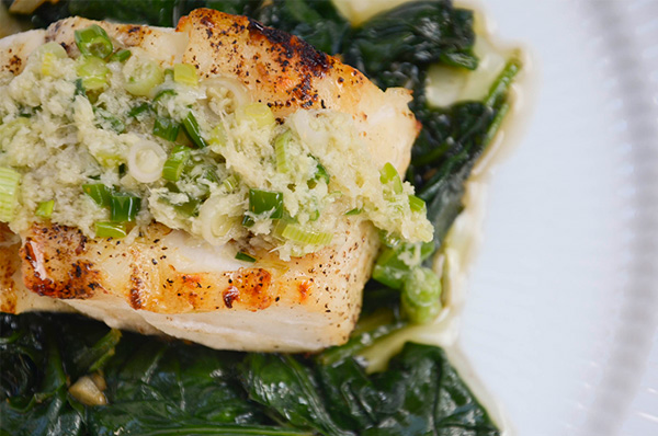 Ginger scallion sauce over fish
